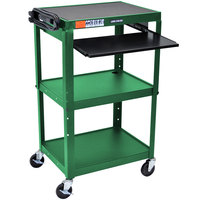 Luxor AVJ42KB-GN Green Mobile Computer Cart / Workstation 24 inch x 18 inch with Keyboard Shelf