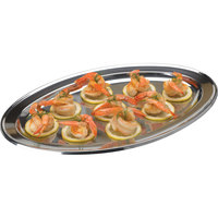 Vollrath 47234 Mirror-Finished Stainless Steel Oval Platter - 13 3/4 inch x 9 inch