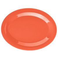 GET OP-950-RO Diamond Mardi Gras 9 3/4 inch x 7 1/4 inch Rio Orange Oval Melamine Platter - 24/Case