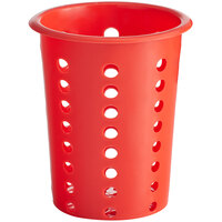 Choice Red Perforated Plastic Flatware Holder Cylinder
