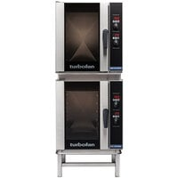 Moffat E33D5/2 Turbofan Double Deck Half Size Electric Convection Oven with Digital Controls and Stand - 220-240V, 1 Phase, 12 kW