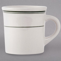 Tuxton TGB-038 Green Bay 9 oz. Eggshell China Canton Mug / Cup with Green Bands - 36/Case