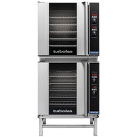 Moffat E32D5/2 Turbofan Double Deck Full Size Electric Convection Oven with Digital Controls and Stainless Steel Stand - 208V, 1 Phase, 11.6 kW