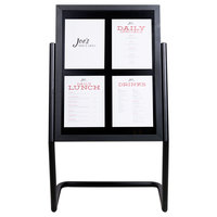 Aarco P-15BK Black 25 inch x 48 inch Double Pedestal Poster Stand