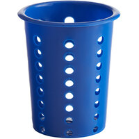 Choice Blue Perforated Plastic Flatware Holder Cylinder