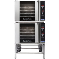 Moffat E31D4/2 Turbofan Double Deck Half Size Electric Convection Oven / Broiler with Digital Controls and Stainless Steel Stand - 208V, 1 Phase, 5.8 kW