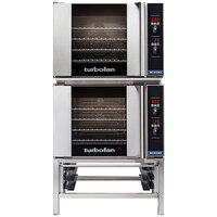 Moffat E31D4/2 Turbofan Double Deck Half Size Electric Convection Oven / Broiler with Digital Controls and Stand - 220-240V, 1 Phase, 6.2 kW