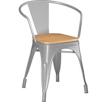 Lancaster Table & Seating Alloy Series Silver Metal Indoor Industrial Cafe Arm Chair with Natural Wooden Seat