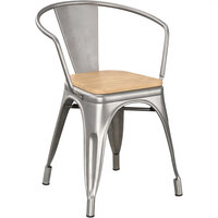 Lancaster Table & Seating Alloy Series Clear Metal Indoor Industrial Cafe Arm Chair with Natural Wooden Seat