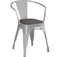 Lancaster Table & Seating Alloy Series Silver Metal Indoor Industrial Cafe Arm Chair with Black Wooden Seat