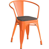 Lancaster Table & Seating Alloy Series Orange Metal Indoor Industrial Cafe Arm Chair with Black Wooden Seat