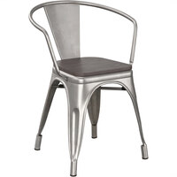 Lancaster Table & Seating Alloy Series Clear Metal Indoor Industrial Cafe Arm Chair with Black Wooden Seat