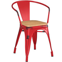 Lancaster Table & Seating Alloy Series Distressed Red Metal Indoor Industrial Cafe Arm Chair with Natural Wooden Seat