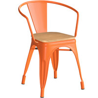 Lancaster Table & Seating Alloy Series Orange Metal Indoor Industrial Cafe Arm Chair with Natural Wooden Seat