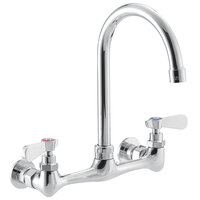 Regency Wall Mount Faucet with 10 inch Gooseneck Spout and 8 inch Centers