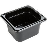 Carlisle 3088403 StorPlus 1/6 Size Black High Heat Plastic Food Pan - 4 inch Deep