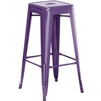 Lancaster Table & Seating Alloy Series Purple Stackable Metal Indoor / Outdoor Industrial Barstool with Drain Hole Seat