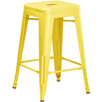 Lancaster Table & Seating Alloy Series Yellow Stackable Metal Outdoor Industrial Cafe Counter Height Stool with Drain Hole Seat