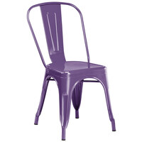 Lancaster Table & Seating Alloy Series Purple Metal Indoor / Outdoor Industrial Cafe Chair with Vertical Slat Back and Drain Hole Seat