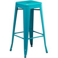 Lancaster Table & Seating Alloy Series Teal Stackable Metal Indoor / Outdoor Industrial Barstool with Drain Hole Seat