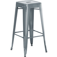 Lancaster Table & Seating Alloy Series Charcoal Stackable Metal Indoor / Outdoor Industrial Barstool with Drain Hole Seat