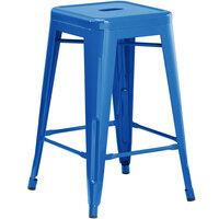 Lancaster Table & Seating Alloy Series Blue Stackable Metal Outdoor Industrial Cafe Counter Height Stool with Drain Hole Seat