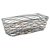 Front of the House TBB020PTI22 Patina 9 inch x 4 inch x 3 inch Hand-Painted Fused Iron Tapered Rectangular Basket - 6/Case