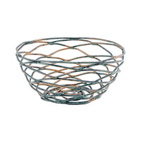 Front of the House BBK006PTI23 Patina 5 1/2 inch x 2 1/2 inch Hand-Painted Fused Iron Round Basket - 12/Case