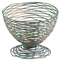 Front of the House TBB008PTI92 Patina 8 inch x 6 1/2 inch Hand-Painted Fused Iron Urn Basket - 6/Case