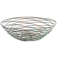 Front of the House BBK007PTI22 Patina 10 inch x 3 inch Hand-Painted Fused Iron Round Basket - 6/Case