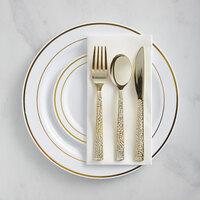Gold Visions Gold Banded Hammered Plastic Dinnerware Set - 120/Pack