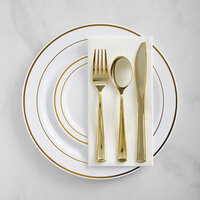 Gold Visions Gold Banded Classic Plastic Dinnerware Set - 120/Pack