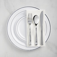 Silver Visions Silver Banded Classic Plastic Dinnerware Set with 2 Plates - 120/Pack