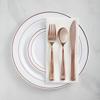 Gold Visions Rose Gold Banded Classic Plastic Dinnerware Set - 120/Pack
