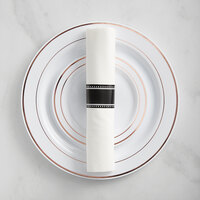 Gold Visions Rose Gold Banded Hammered Plastic Dinnerware Set with Rolled Flatware - 120/Pack