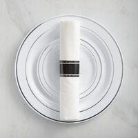 Silver Visions Silver Banded Classic Plastic Dinnerware Set with Rolled Flatware - 120/Pack