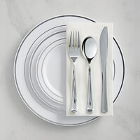 Silver Visions Silver Banded Classic Plastic Dinnerware Set with 3 Plates - 120/Pack