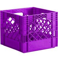 Violet 16 Qt. Customizable Square Milk Crate - 13 inch x 13 inch x 11 inch