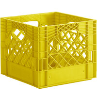 Yellow 16 Qt. Customizable Square Milk Crate - 13 inch x 13 inch x 11 inch