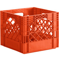 Orange 16 Qt. Customizable Square Milk Crate - 13 inch x 13 inch x 11 inch
