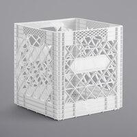 White 16 Qt. Customizable Super Square Milk Crate - 14 3/4 inch x 14 3/4 inch x 14 7/8 inch