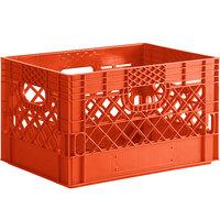 Orange 24 Qt. Customizable Rectangular Milk Crate - 18 3/4 inch x 13 inch x 11 inch