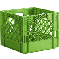 Lime Green 16 Qt. Customizable Square Milk Crate - 13 inch x 13 inch x 11 inch