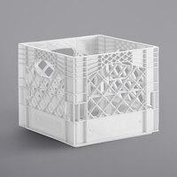 White 16 Qt. Customizable Square Milk Crate - 13 inch x 13 inch x 11 inch