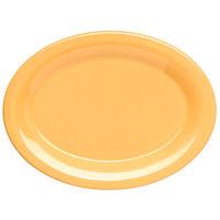 Carlisle 4308622 Durus 9 1/2 inch Honey Yellow Oval Melamine Platter - 24/Case