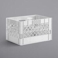 White 24 Qt. Customizable Rectangular Milk Crate - 18 3/4 inch x 13 inch x 11 inch