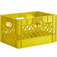 Yellow 24 Qt. Customizable Rectangular Milk Crate - 18 3/4 inch x 13 inch x 11 inch