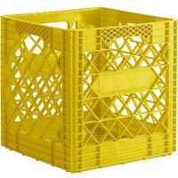Yellow 16 Qt. Customizable Super Square Milk Crate - 14 3/4 inch x 14 3/4 inch x 14 7/8 inch