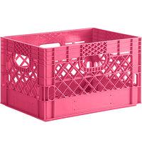 Pink 24 Qt. Customizable Rectangular Milk Crate - 18 3/4 inch x 13 inch x 11 inch