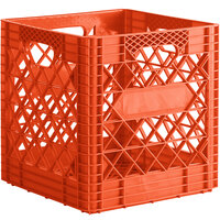 Orange 16 Qt. Customizable Super Square Milk Crate - 14 3/4 inch x 14 3/4 inch x 14 7/8 inch